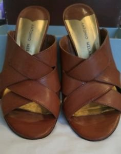 Antonio Melani womens leather heels shoes size 9 brown