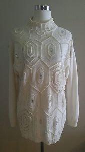 Victoria jones womens embellished sweater size L ivory