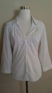 Spense womens button down shirt top blouse size L white with black striped