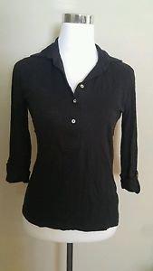 Razzle dazzle womens long buttom down shirt long sleeve blouse top size M black