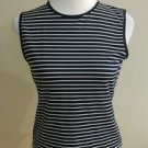 Kasper womens tank top tee size 10 black & white striped