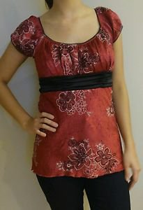 Red top blouse womens size M