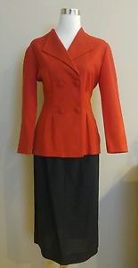 Made by a tailor womens skirt suit 1-006 size 6 red black