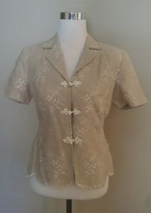 David warren womens blouse top embroidered size 10P beige