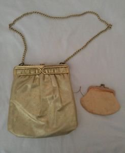 Vintage gold womens handbag strap drop satchel