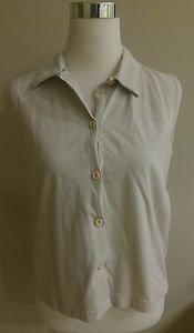 Cherokee womens button down shirt top size M beige