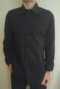 Armani Exchange A/X casual slim fit men shirt embroidery lines black long sleeve