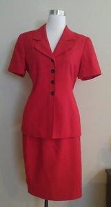 Kasper womens skirt suit set size 10P red 1-026