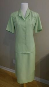 Voir womens skirt suit size M green