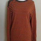 Old navy mens t-shirt long sleeve size XL striped orange brown