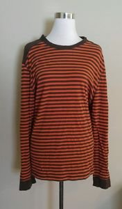 Old navy mens t-shirt long sleeve size XL striped orange brown