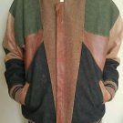Vintage 90s handmade leather & jean men bomber jacket three toned