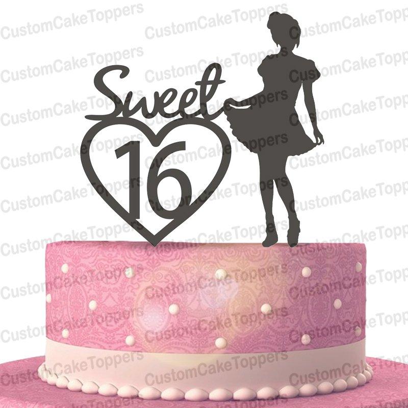Sweet 16 Birthday Cake Topper, 16th Birthday Cake Topper, Sixteen Cake Topper