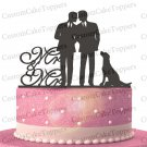 Gay Wedding Cake Topper With Dog,Gay Cake Topper,Homosexual Cake Topper