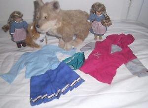 American Girl Lot, 2 Mini Dolls, Dog, Cat, 2 Shirts, 1 Skirt, & 1 Pair Underwear