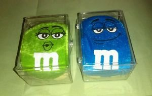 "Green & Blue M&M's Stuffed 6"" to 8"" Plush Candy Toys Pucker Lips 2010 CASED NIB*"