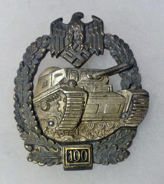 WWII GERMAN PANZER ASSAULT BADGE - SPECIAL GRADE 100