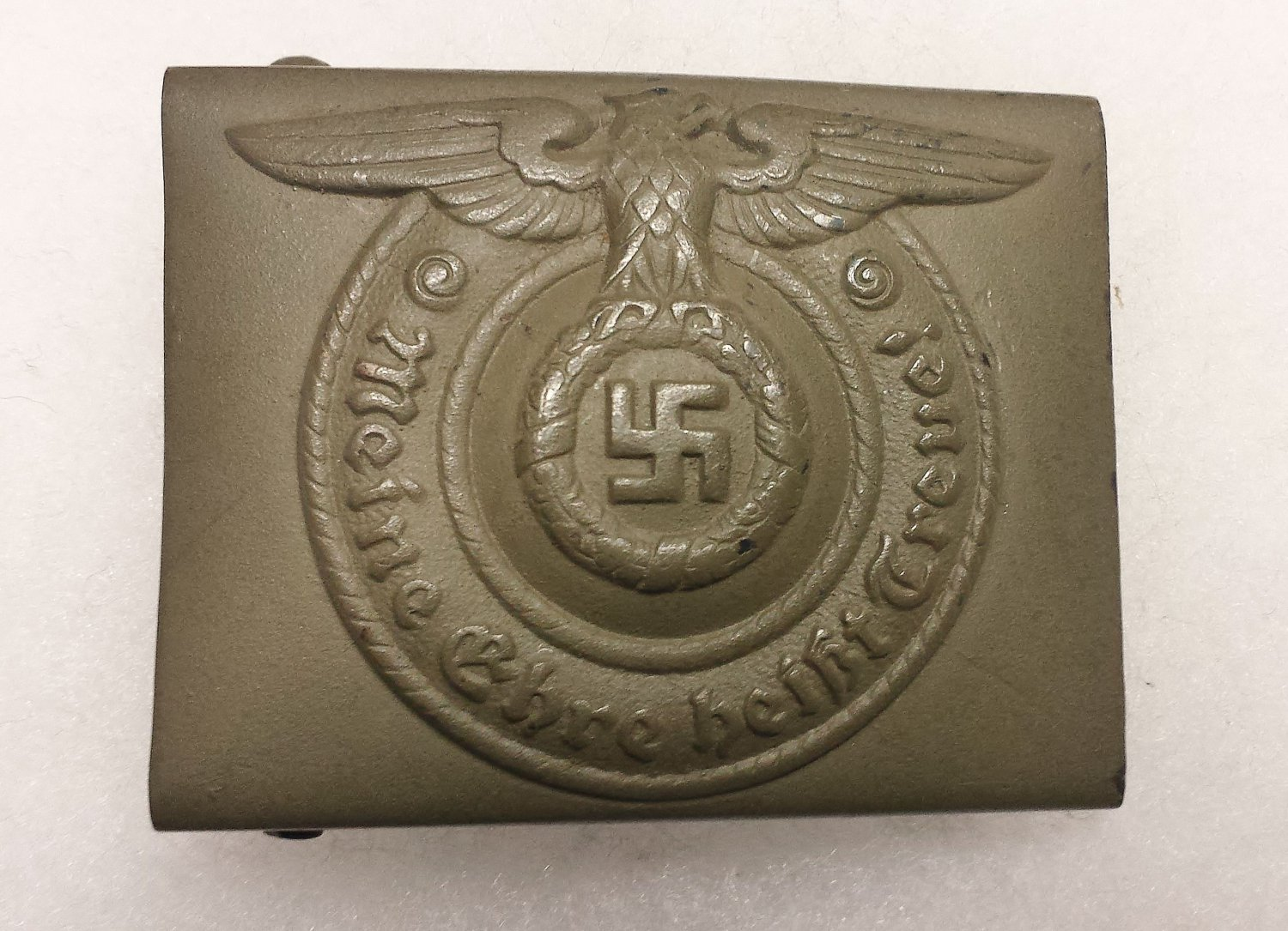 WWII GERMAN SS OLIVE DRAB ENLISTED MAN'S BELT BUCKLE-  *RARE*