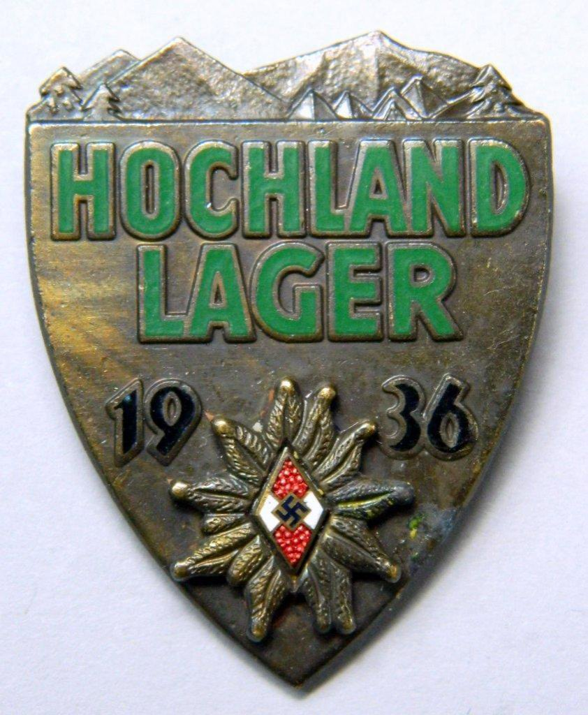 WWII GERMAN HITLER YOUTH HOCHLAND LAGER ALPINE BADGE - BRONZE GRADE