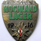 WWII GERMAN HITLER YOUTH HOCHLAND LAGER ALPINE BADGE - BRONZE GRADE