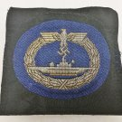 WWII WW2 GERMAN KRIEGSMARINE U-BOAT BADGE IN CLOTH BULLION