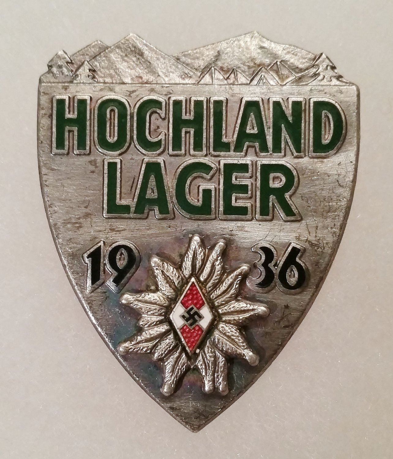 WWII GERMAN HITLER YOUTH HOCHLAND LAGER ALPINE BADGE - SILVER GRADE
