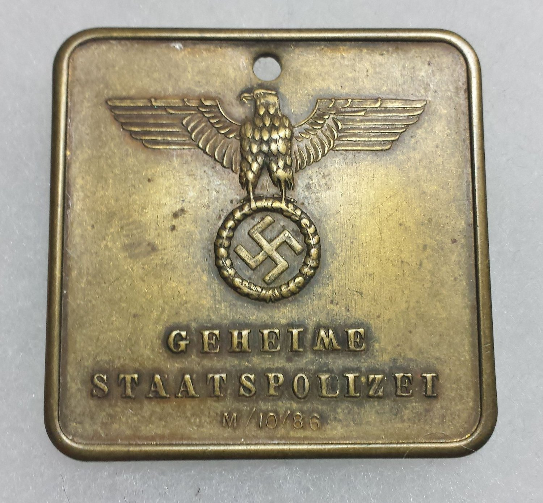 WWII GERMAN NAZI GESTAPO POLICE WARRANT DISC