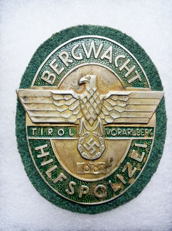 WWII GERMAN NAZI MOUNTAIN POLICE BADGE
