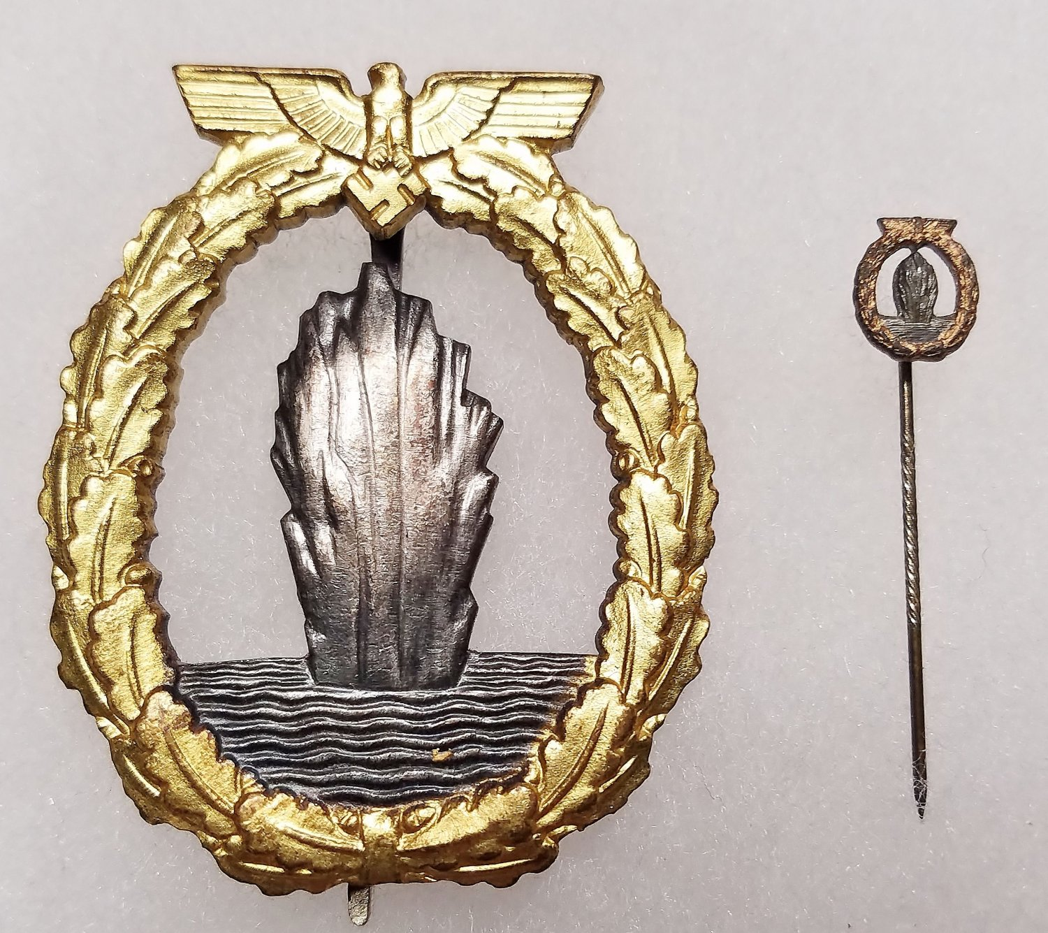 WWII WW2 GERMAN NAZI KRIEGSMARINE MINESWEEPER BADGE W/ STICKPIN
