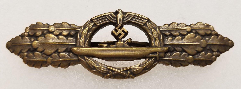 WWII WW2 GERMAN NAZI KRIEGSMARINE SUBMARINE CLASP - BRONZE GRADE