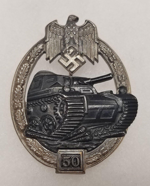 WWII GERMAN NAZI PANZER ASSAULT BADGE - SPECIAL GRADE 50