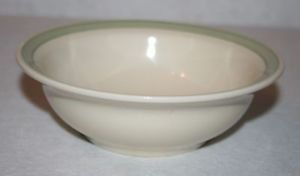 """Pfaltzgraff 6 1/2"""" Soup Cereal Bowl Cream with Green Band EUC"""
