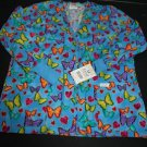 NWT Crest Scrub Top Shirt M Womens Butterflies Nursing Vet
