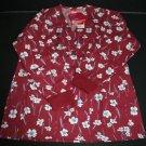 NWT Med Style Scrub Top Shirt M Womens Maroon w/Flowers Nursing Vet