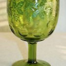 Vintage Bartlett And Collins Olive Green Grape Etched Thumbprint Wine Goblet