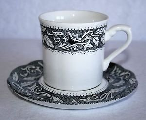 J&G Meakin RENAISSANCE Black Cup & Saucer English Sterling MULTIPLES AVAILABLE