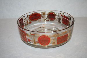 Mid Century Chip Dip Glass Bowl Red & Gold with Dip Recipes 1950s 1960s
