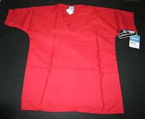 NWT Crest Scrub Top Shirt XS Womens Mens Chili Pepper Red Nursing Vet #105