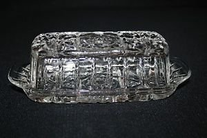 """Vintage 60s Anchor Hocking PRESCUT CLEAR Covered Butter Dish """"STAR of DAVID"""" EUC"""
