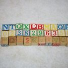 # Lot of 30 Vintage WOOD BLOCKS ABC 123 Letters Numbers EMBOSSED