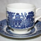CHURCHILL England BLUE WILLOW Flat Cup & Saucer