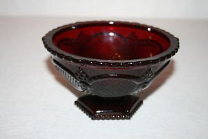 Avon Cape Cod RUBY RED Glass Footed Candy Dish/Compote