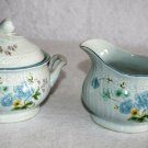 Mikasa Precious Blue Michelle Creamer & Sugar Bowl With Lid