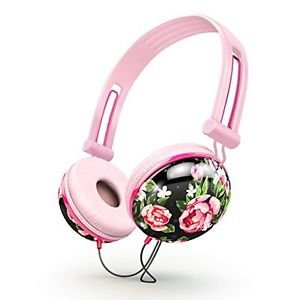 Ankit Fat Bass Over the Ear Noise Isolating Cute Pastel Black Floral Headphones