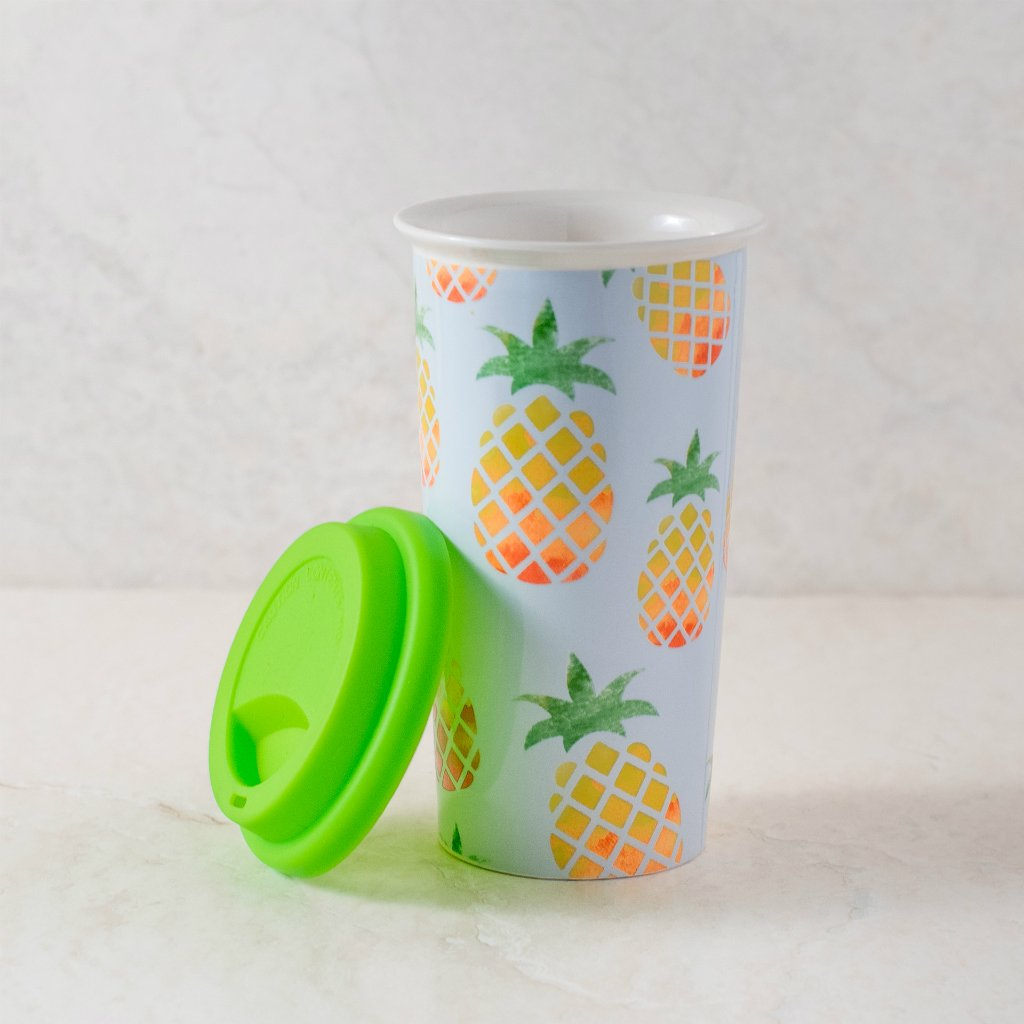 Ankit Pineapple Coffee Tumbler with lid, 11 oz, Plastic, Pineapple Theme, Microwave safe