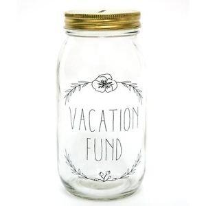 Ankit Money Bank (Vacation Fund) Cute Glass Funny Mason Jar Piggy Bank Money
