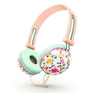 Ankit Pastel Peach Floral Headphones Noise Isolating Apple Android Compatible