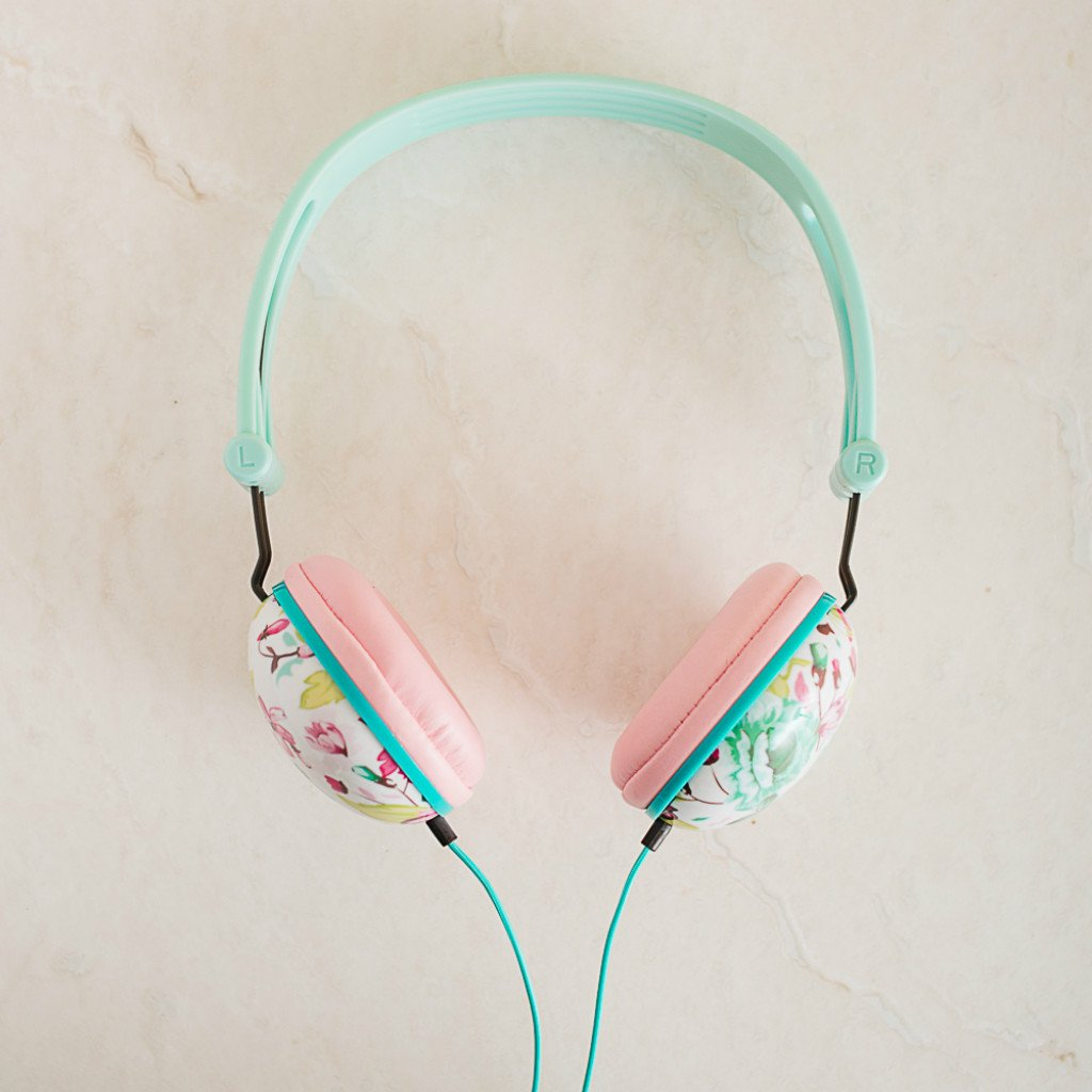 Ankit Pastel Mint Pink Floral Noise Isolating Headphones Apple Android Compatible Gifts
