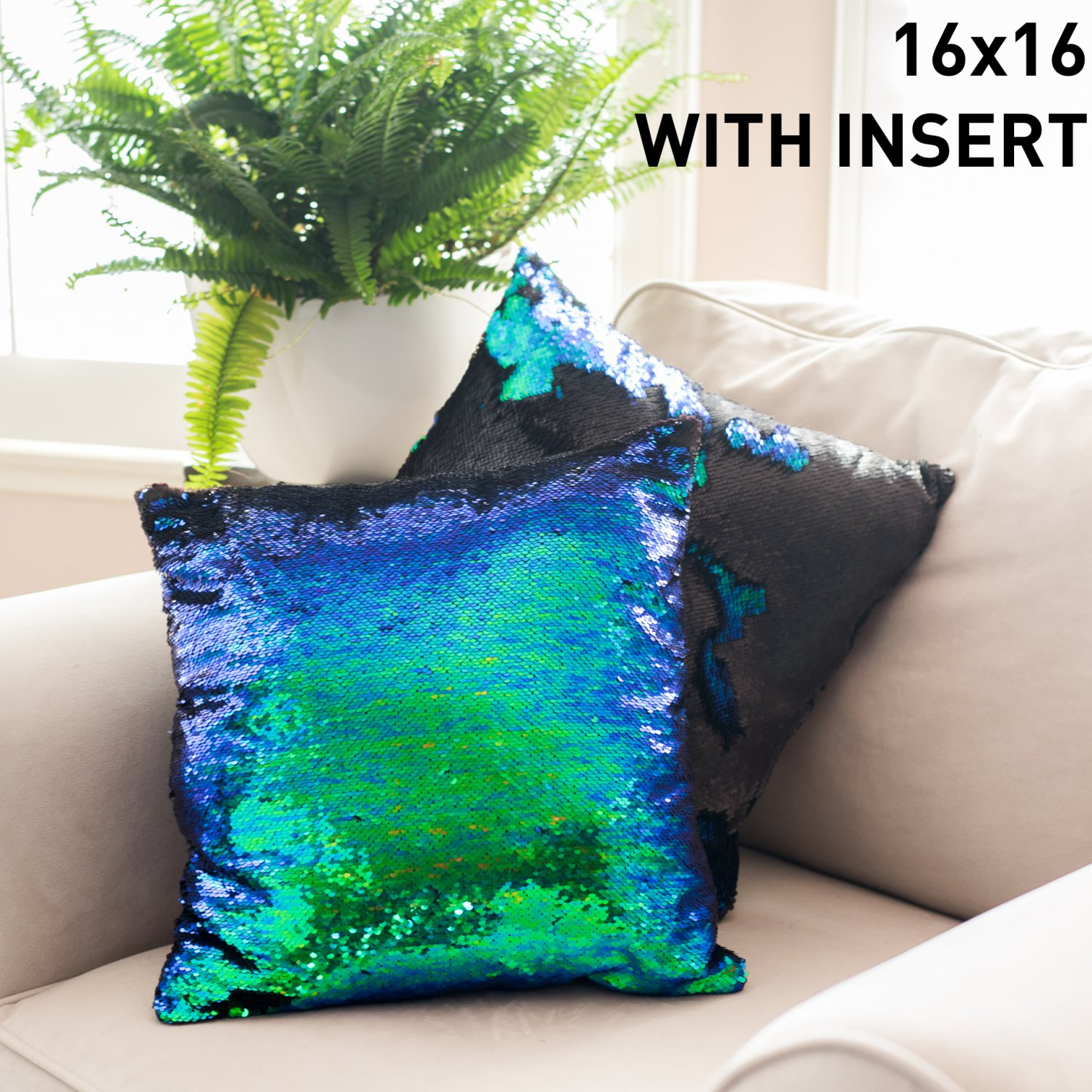 16x16 Mermaid Pillow with Insert Holographic Green with Flip sequin Throw Pillow Mermaid Magic