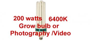 200 watt daylight fluorescent GROW / PHOTOGRAPHY BULB 6400K hydrophonics bulb DL